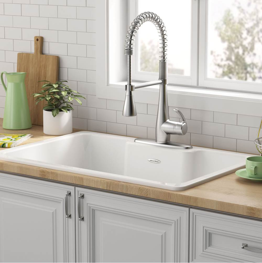 American Standard American Standard Quince 33x22 Top Mount Single Bowl Cast Iron Kitchen Sink - 3 Holes