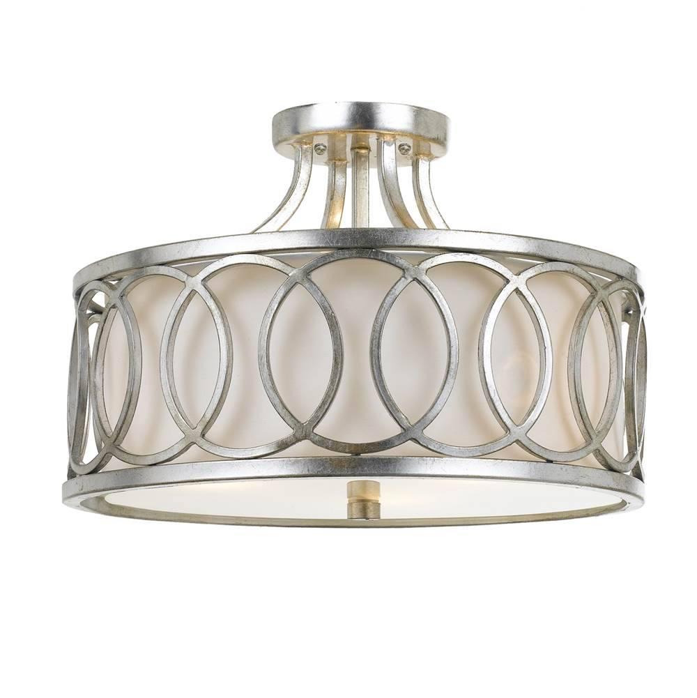 Crystorama Libby Langdon for Crystorama Graham 3 Light Ant Silver Ceiling Mount