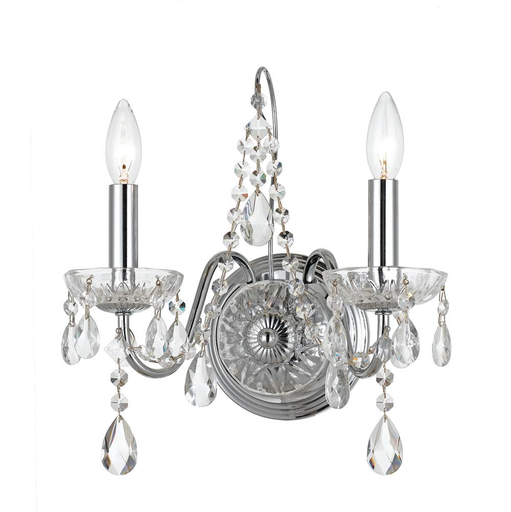 Crystorama Butler 2 Light Clear Crystal Chrome Sconce