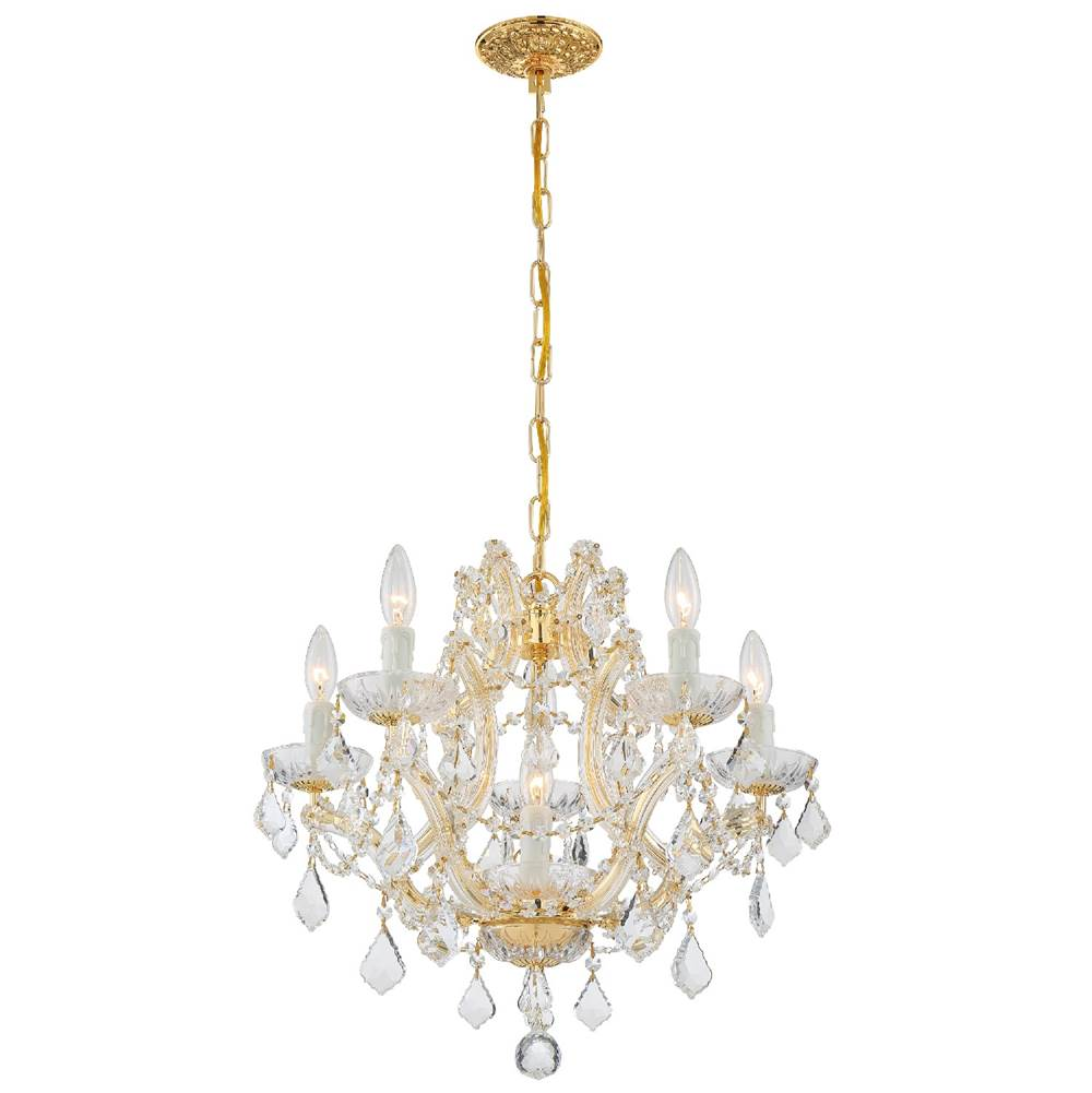 Crystorama Maria Theresa 6 Light Clear Crystal Gold Mini Chandelier
