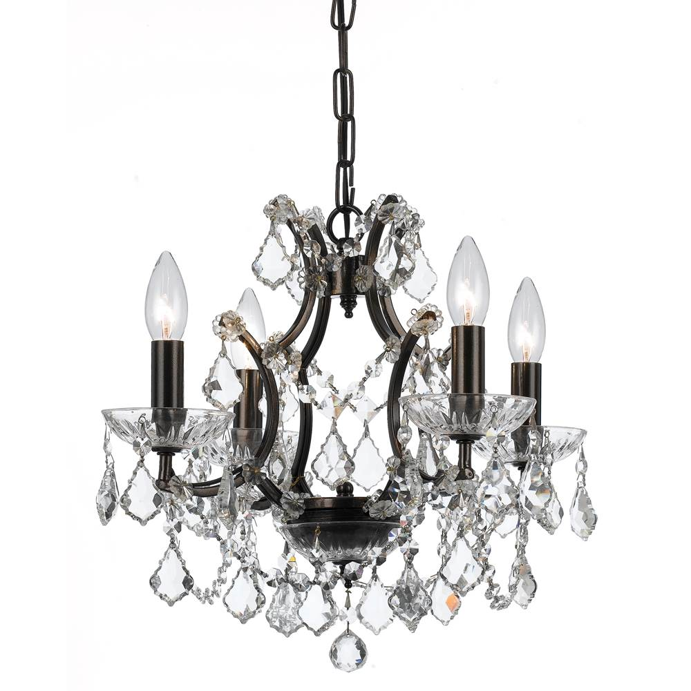 Crystorama Filmore 4 Light Spectra Crystal Bronze Mini-Chandelier