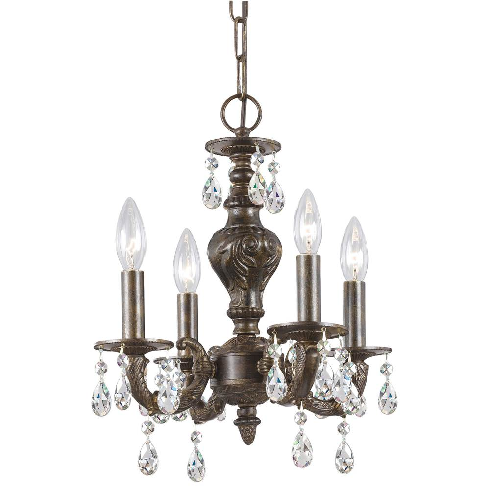 Crystorama Paris Market 4 Light Clear Crystal Bronze Mini Chandelier