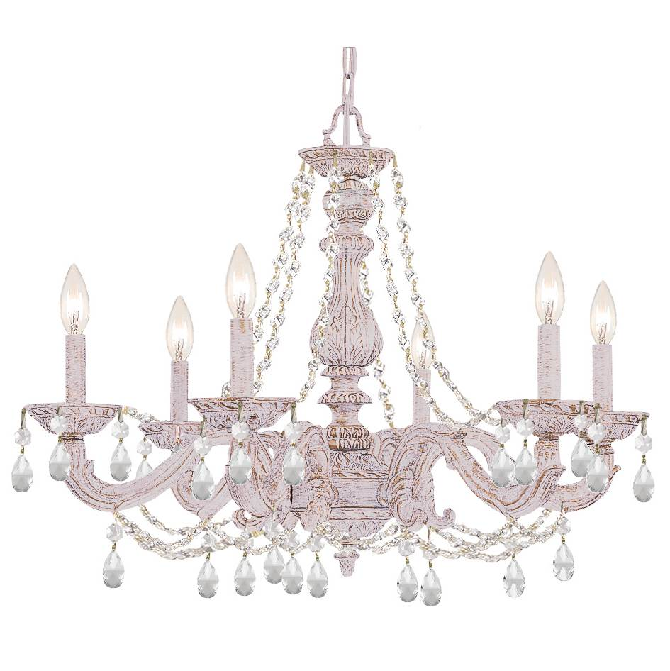 Crystorama Paris Market 6 Light Clear Spectra Crystal White Chandelier