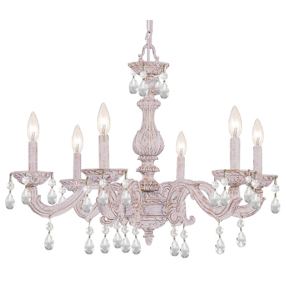 Crystorama Paris Market 6 Light Clear Crystal White Chandelier
