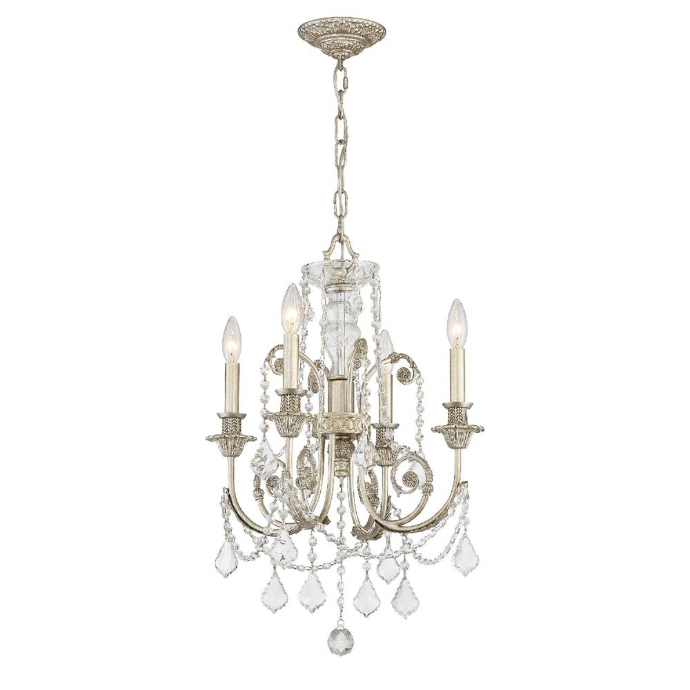 Crystorama Regis 4 Light Clear Crystal Silver Mini Chandelier
