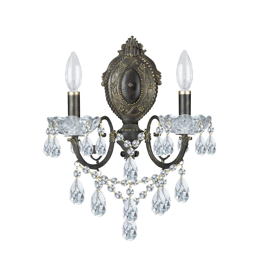 Crystorama Legacy 2 Light Clear Italian Crystal Bronze Sconce