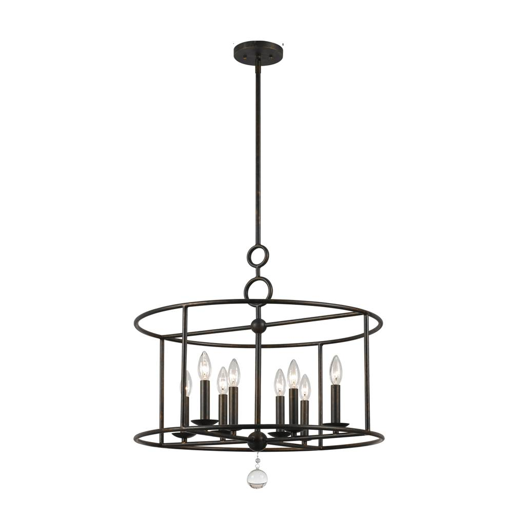 Crystorama Cameron 8 Light Wrought Iron Chandelier