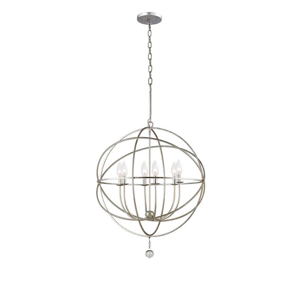 Crystorama Solaris 6 Light Silver Sphere Chandelier