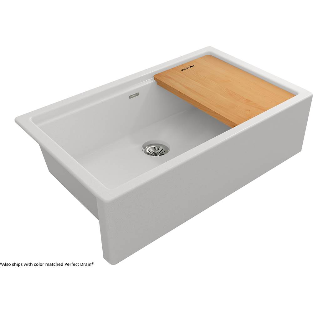 Elkay Reserve Selection Elkay Quartz Luxe 35-7/8 x 21-9/16 x 9 Single Bowl 10'' Apron Farmhouse Workstation Sink with Perfect Drain, Ricotta
