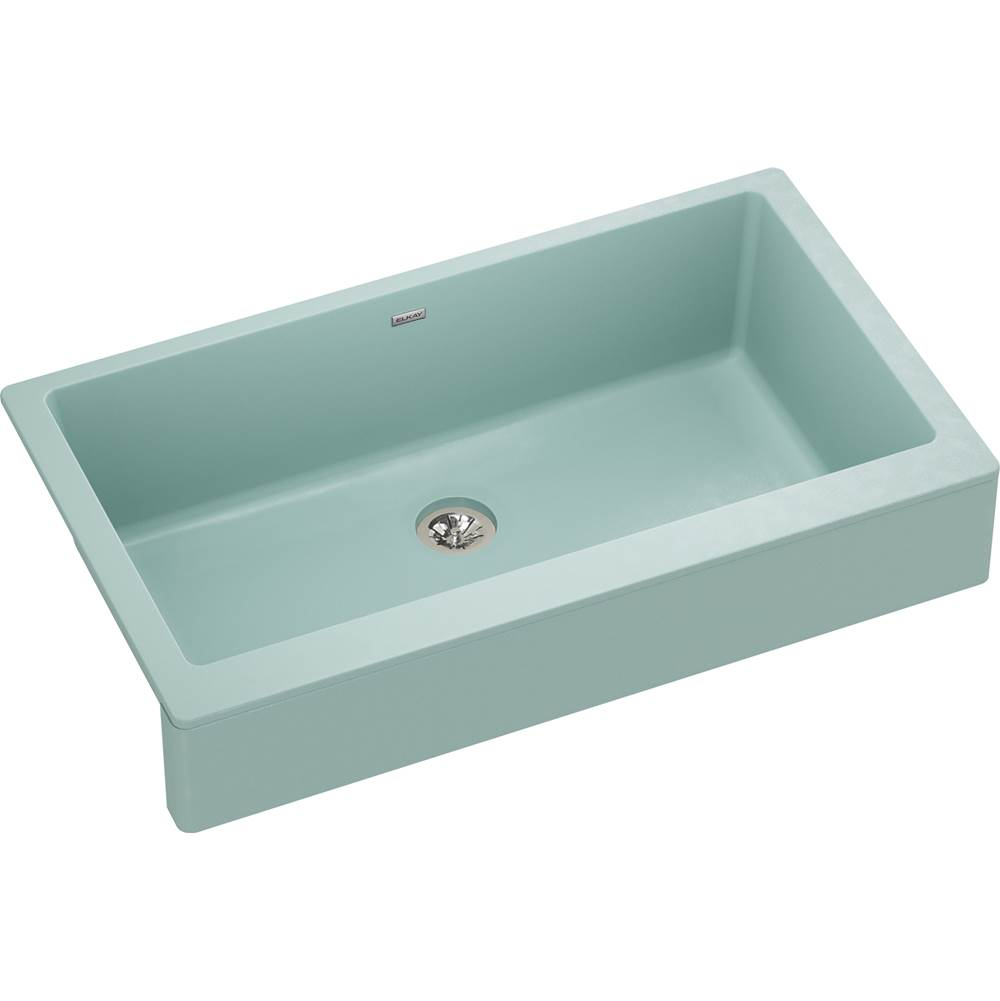 Elkay Reserve Selection Elkay Quartz Luxe 35-7/8'' x 20-15/16'' x 9'' Single Bowl Farmhouse Sink with Perfect Drain, Mint Creme