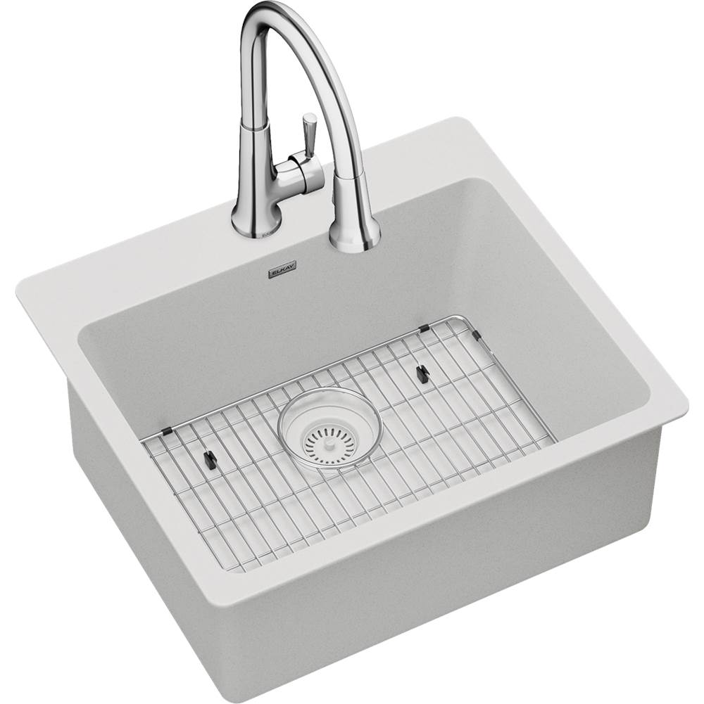 Elkay Elkay Quartz Classic 25'' x 22'' x 9-1/2'', Single Bowl Drop-in Sink Kit with Faucet, White