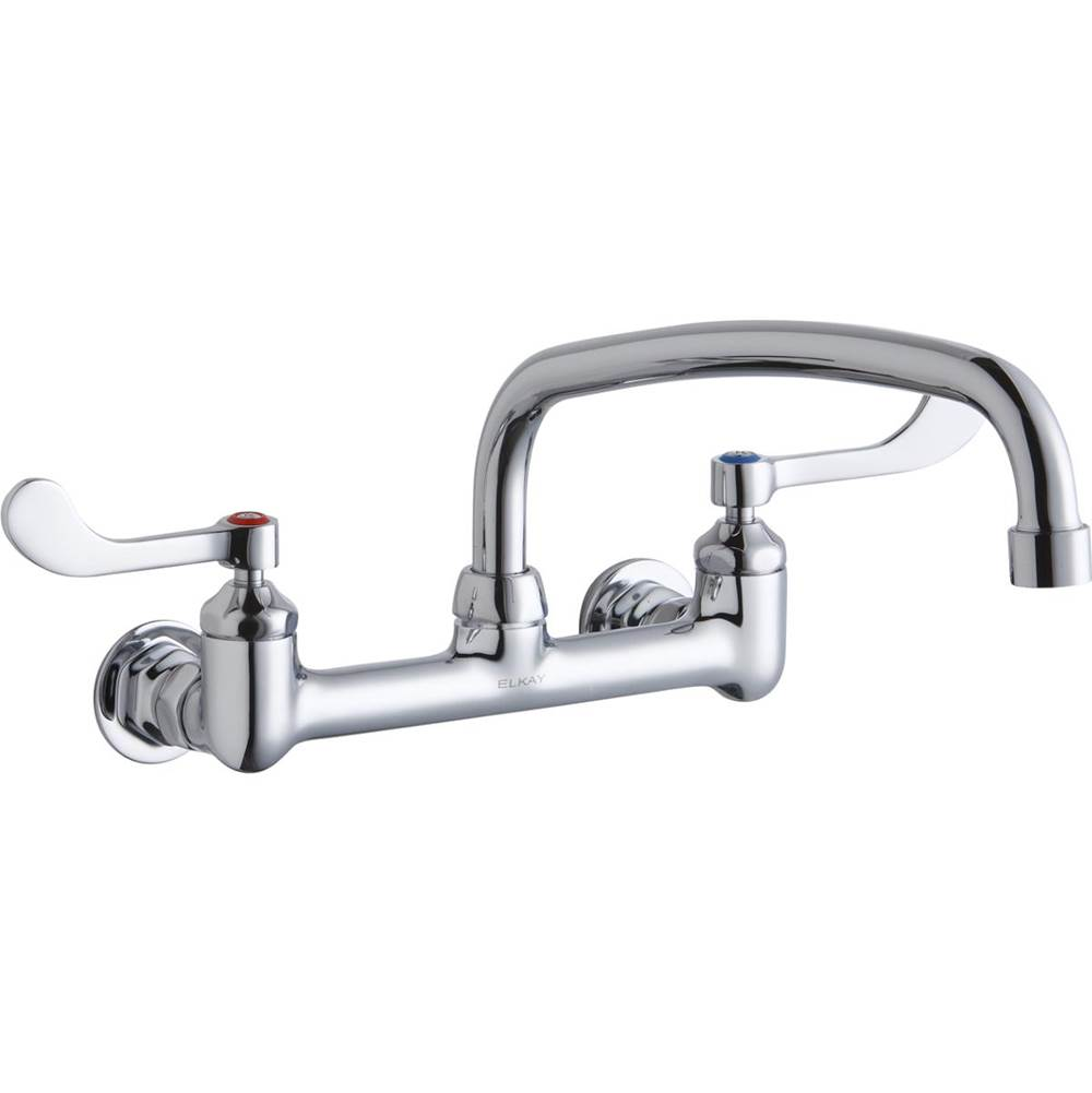 Elkay Elkay Foodservice 8'' Centerset Wall Mount Faucet with 12'' Arc Tube Spout 4'' Wristblade Handles 1/2in Offset Inlets