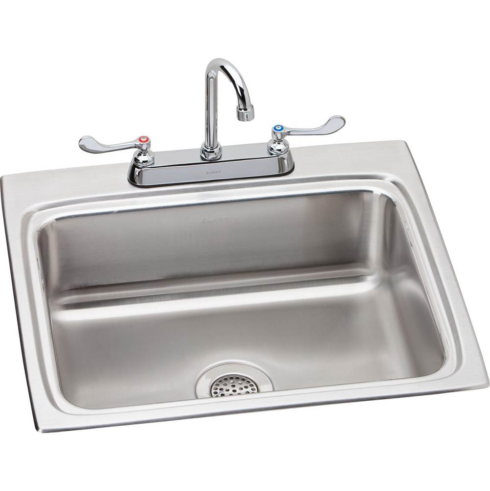 Elkay Elkay Lustertone Classic Stainless Steel 25'' x 22'' x 8-1/8'', Single Bowl Drop-in Sink + Faucet Kit