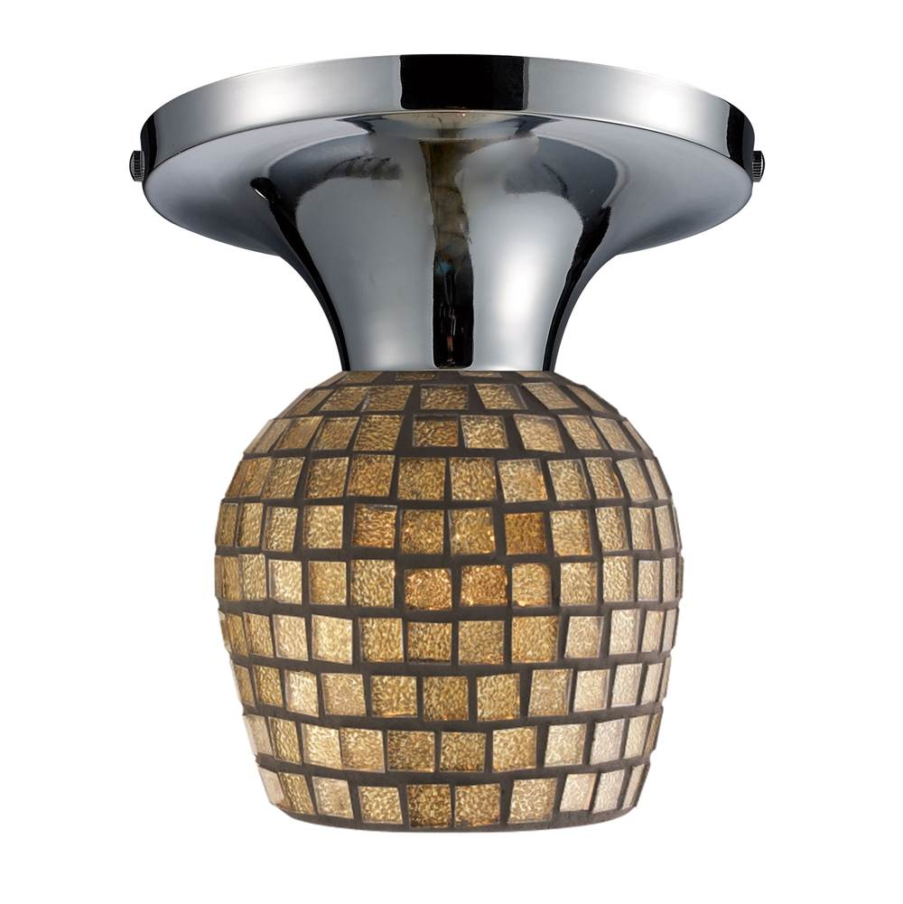 Elk Lighting Celina 1-Light Semi Flush in Chrome with Gold Mosaic Glass