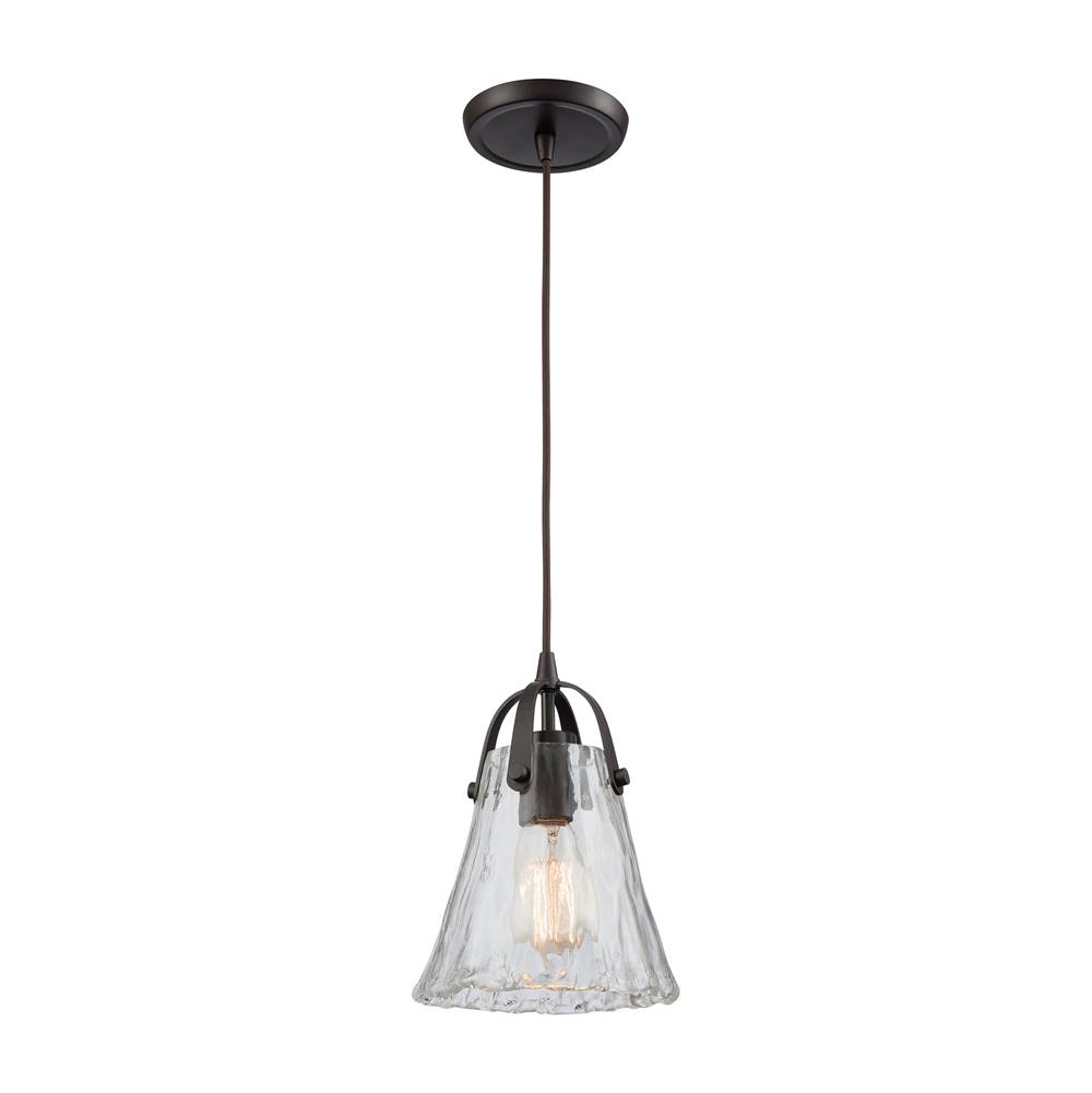 Elk Lighting Hand Formed Glass 1-Light Mini Pendant in Oiled Bronze with Clear Hand-formed Glass