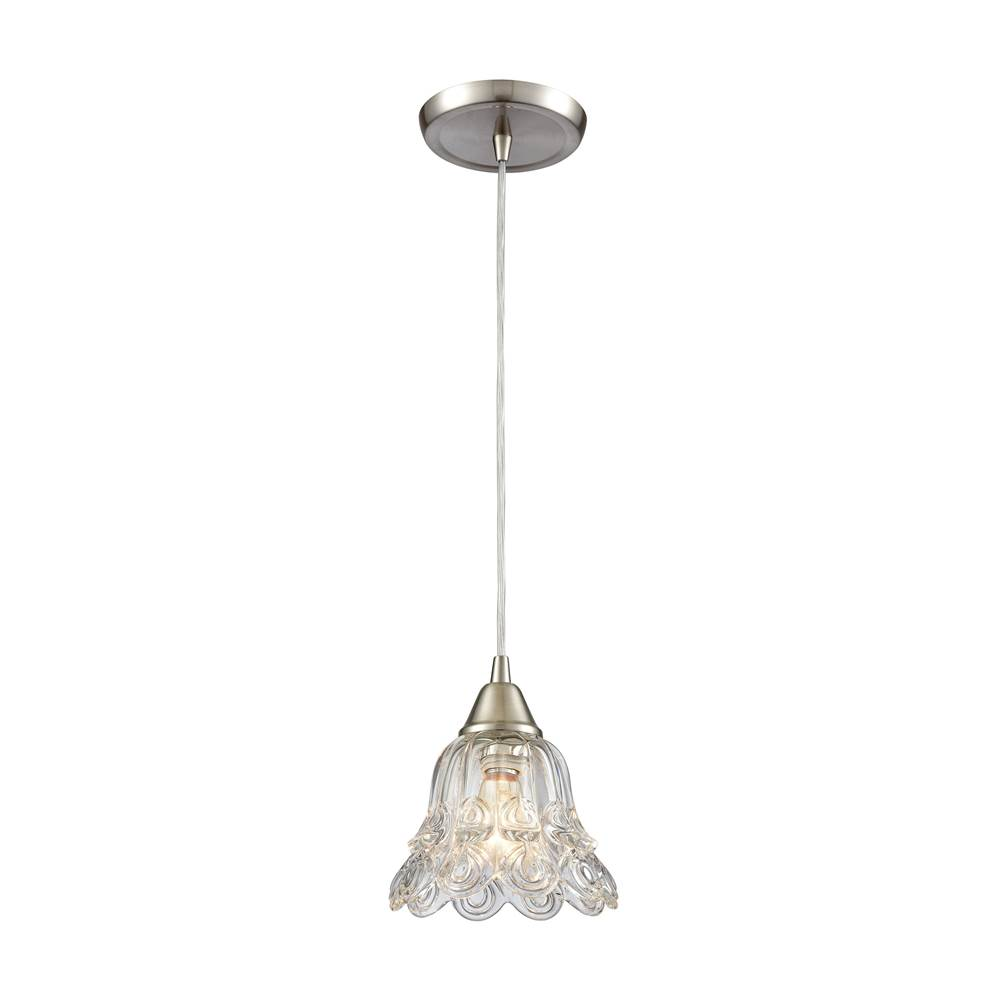Elk Lighting Walton 1-Light Mini Pendant in Satin Nickel with Clear Pressed Glass