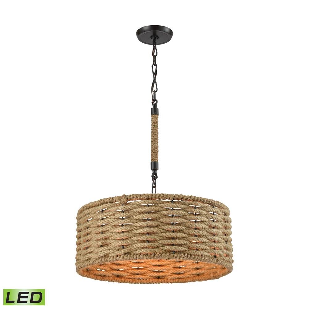 Elk Lighting Weaverton 3-Light Chandelier in Oiled Bronze with Natural Rope-wrapped Shade - Includes LED Bulbs