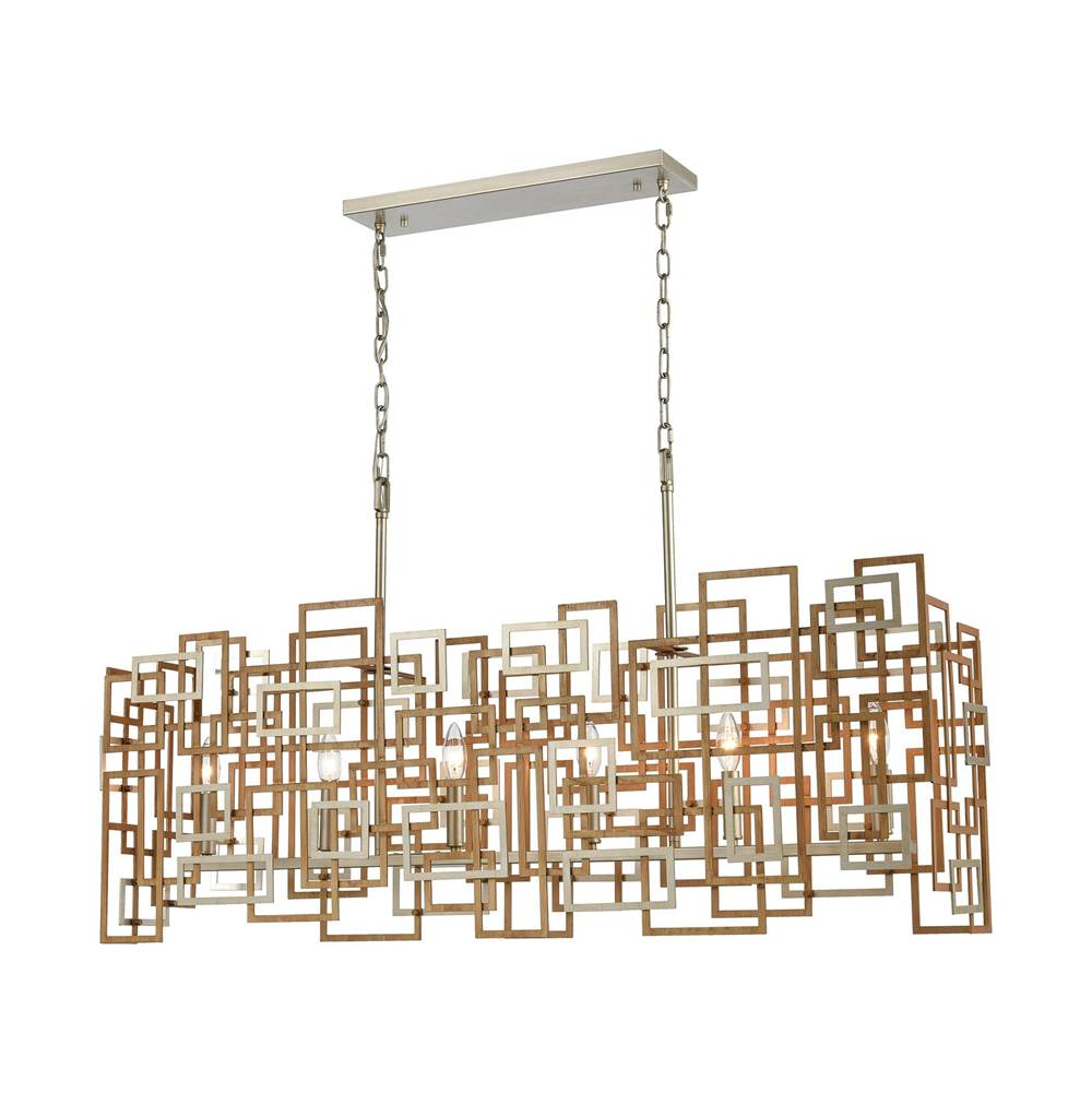 Elk Lighting Gridlock 6-Light Island Light in Matte Gold and Aged Silver