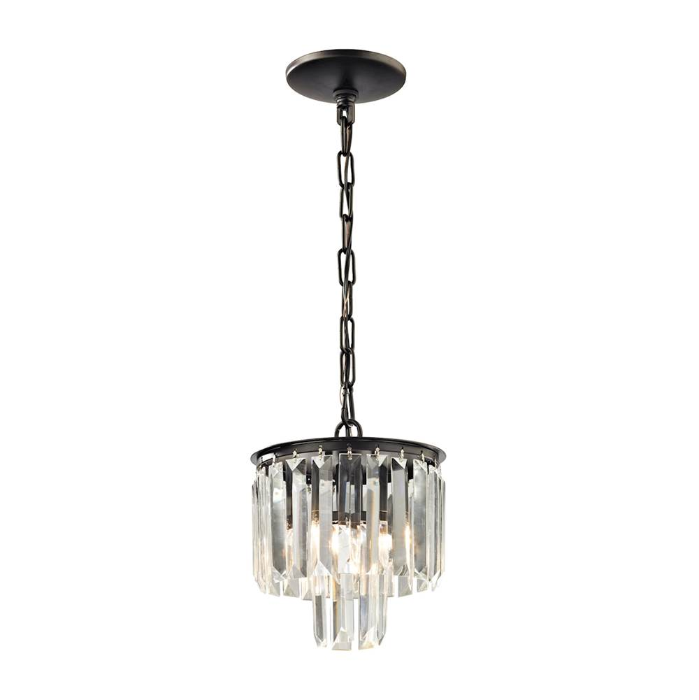 Elk Lighting Palacial 1-Light Mini Pendant in Oil Rubbed Bronze with Clear Crystal