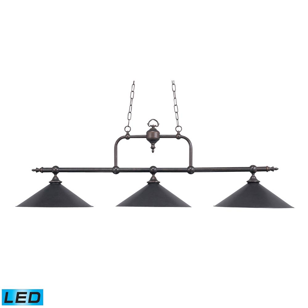 Elk Lighting Designer Classics 3-Light Island Light in Tiffany Bronze with Metal Shades - Includes LED Bulbs