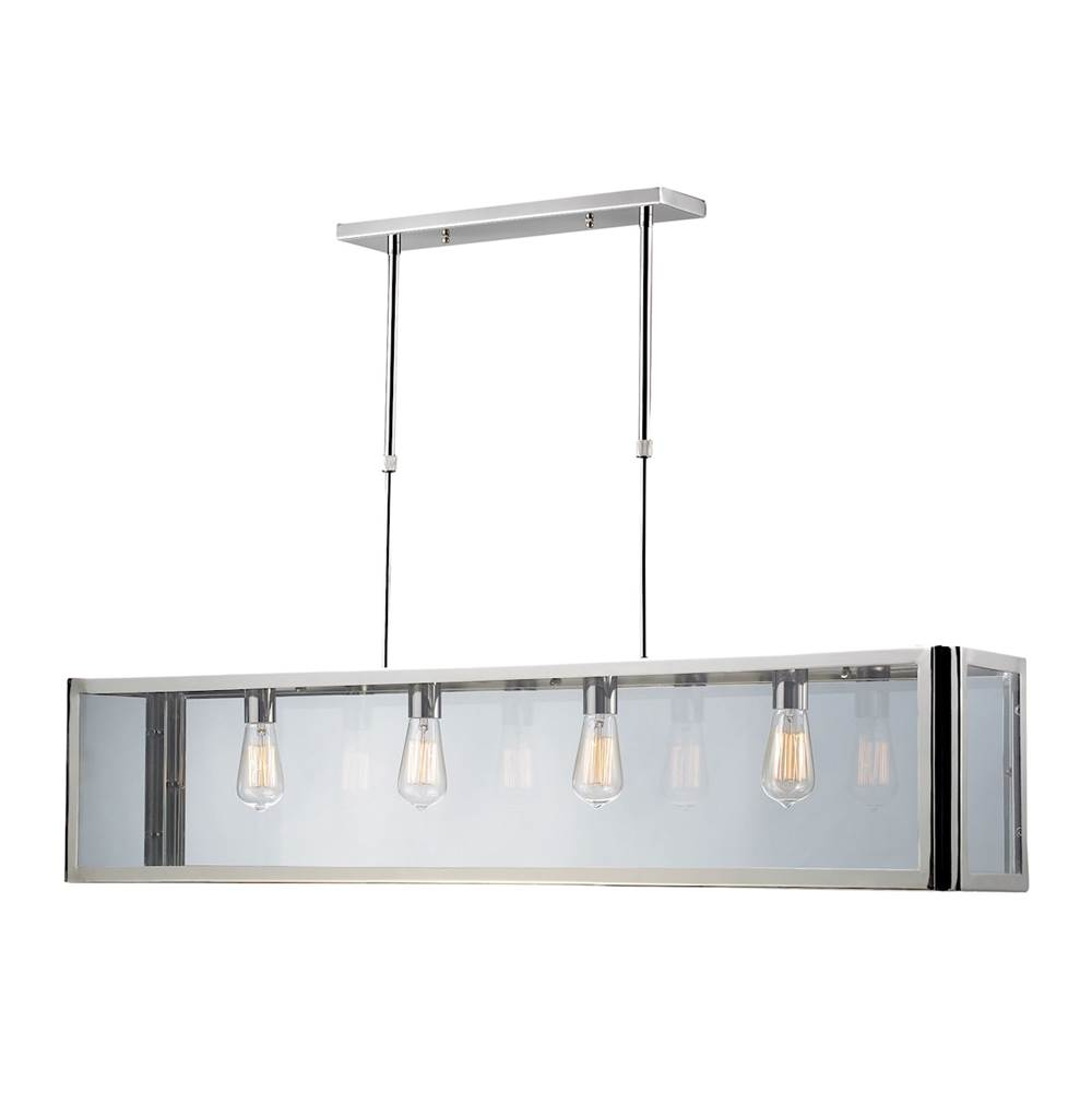 Elk Lighting Parameters 4-Light Linear Chandelier in Polished Chrome with Clear Glass