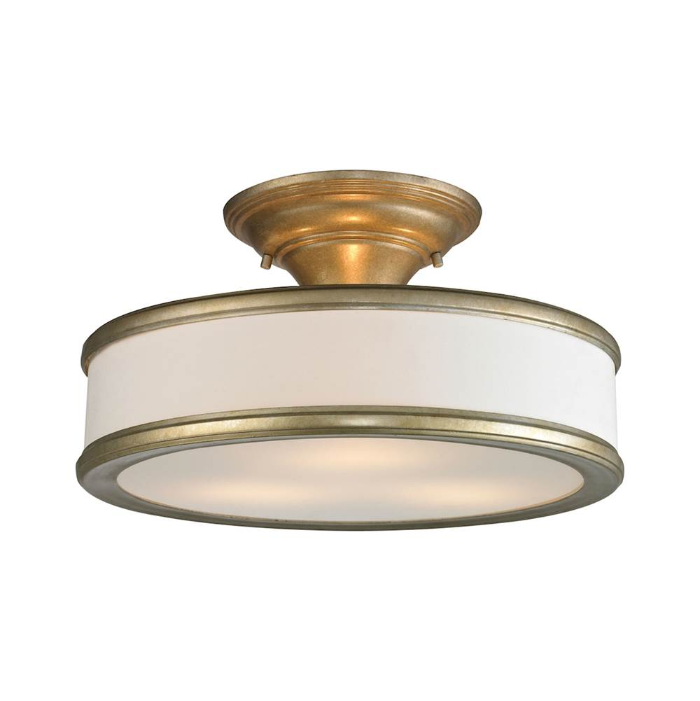 Elk Lighting Clarkton 3-Light Semi Flush in Aged Silver with White Fabric Shade