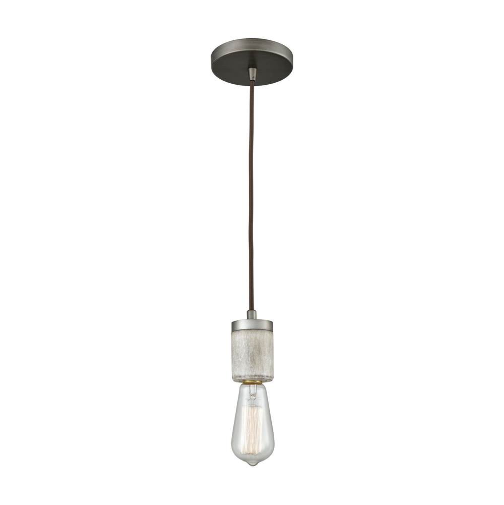 Elk Lighting Socketholder 1-Light Mini Pendant in Weathered Zinc