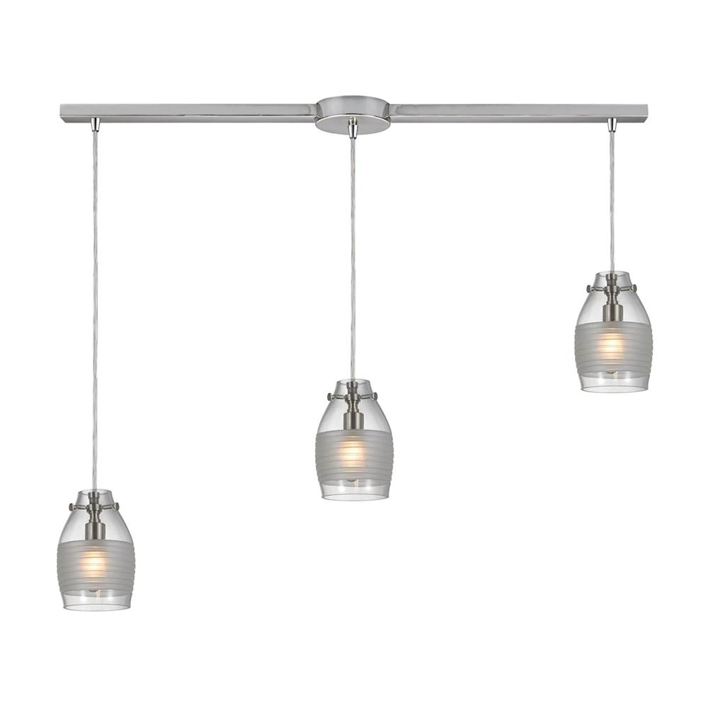 Elk Lighting Carved Glass 3-Light Linear Pendant Fixture in Brushed Nickel with Glass Shade