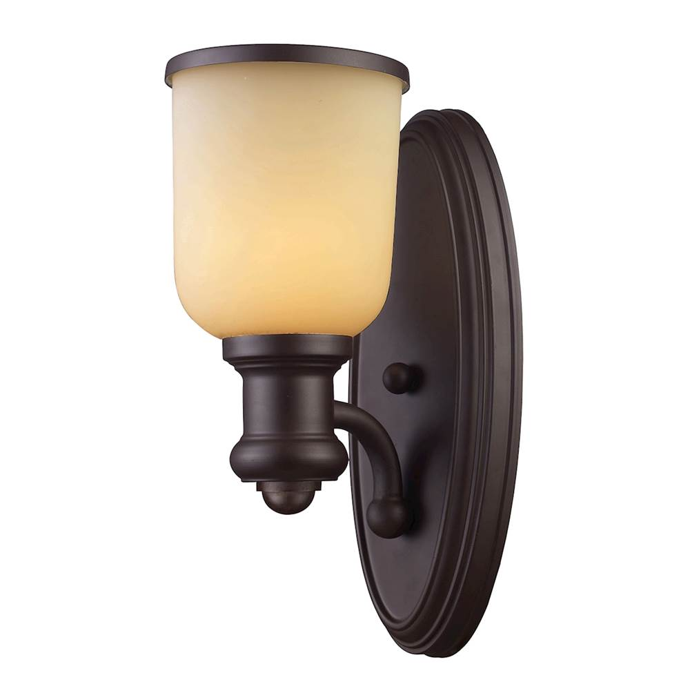 Elk Lighting Brooksdale 1-Light Wall Lamp in Oiled Bronze with Amber Glass