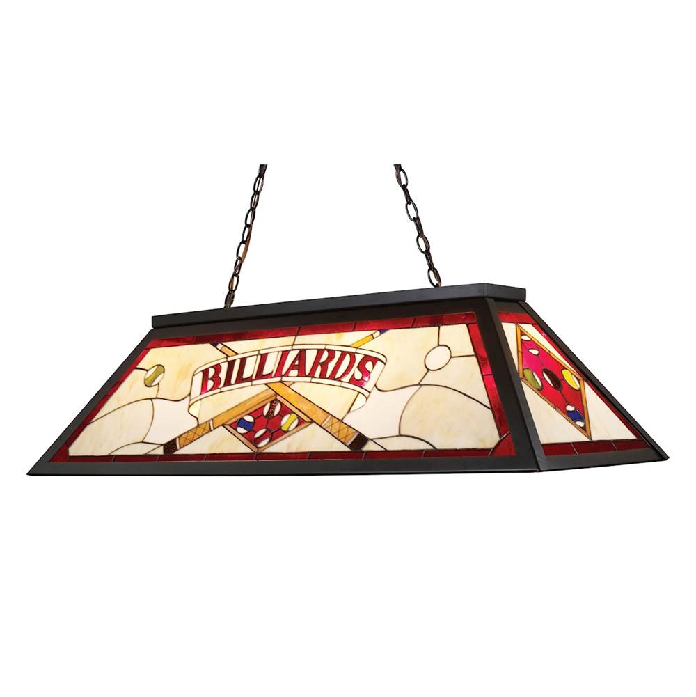 Elk Lighting Tiffany 4-Light Billiard Light in Tiffany Bronze with Red Billiard Motif