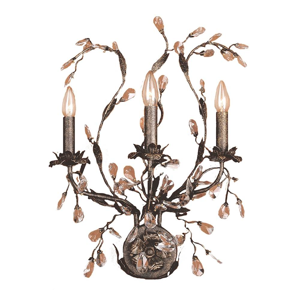 Elk Lighting Circeo 3-Light Wall Lamp in Deep Rust with Crystal