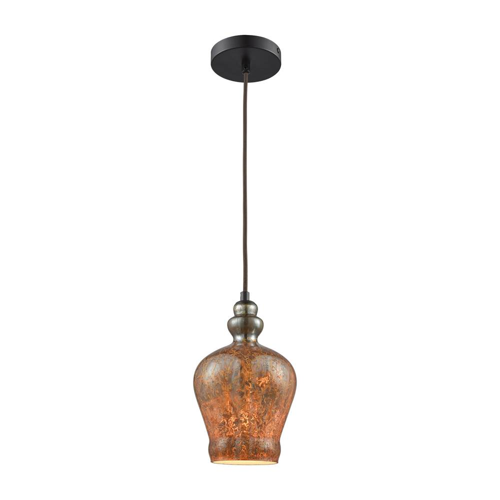 Elk Lighting Sojourn 1-Light Mini Pendant in Oiled Bronze with Fiery Lava Glass - Includes Adapter Kit