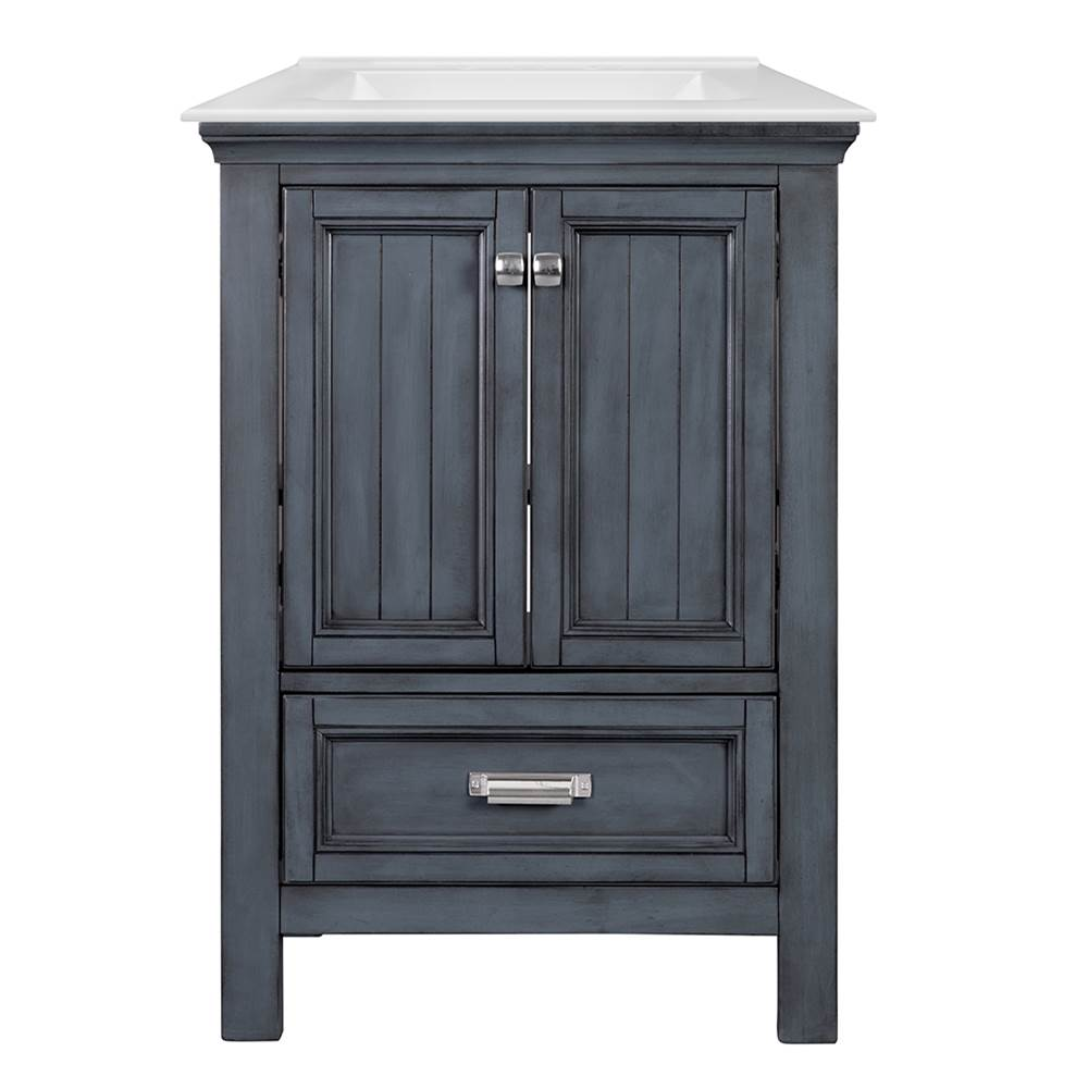 Foremost Brantley 25'' Distressed Grey Vanity with White Fine Fire Clay Top
