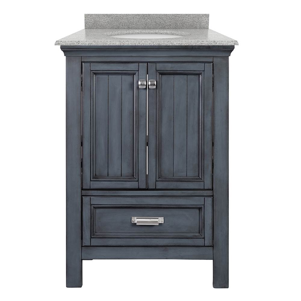 Foremost Brantley 25'' Distressed Grey Vanity with Rushmore Grey Granite Top