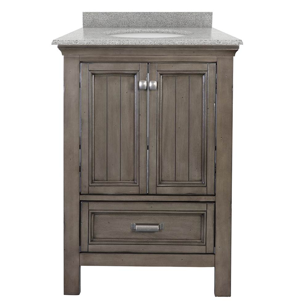 Foremost Brantley 25'' Harbor Blue Vanity with Rushmore Grey Granite Top