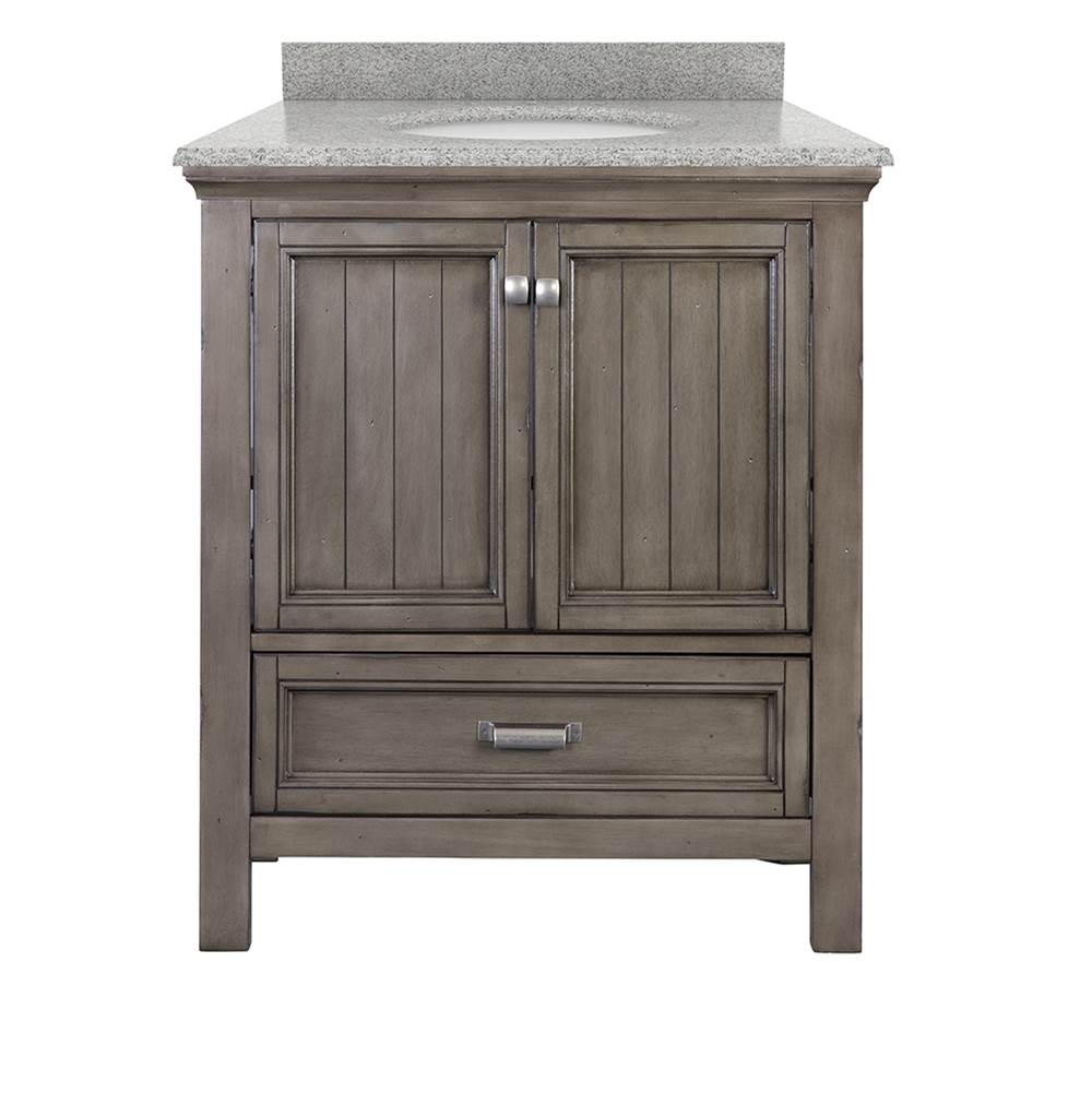 Foremost Brantley 31'' Harbor Blue Vanity with Rushmore Grey Granite Top