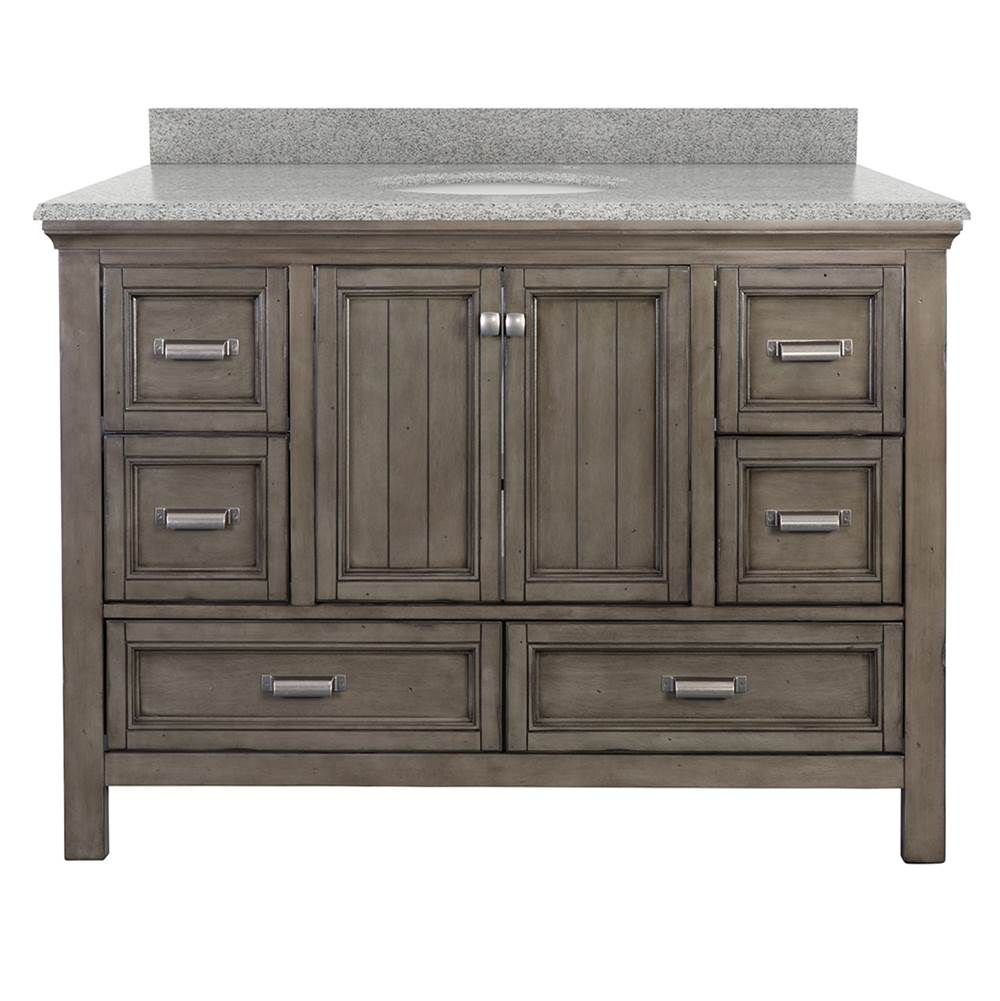 Foremost Brantley 49'' Harbor Blue Vanity with Rushmore Grey Granite Top