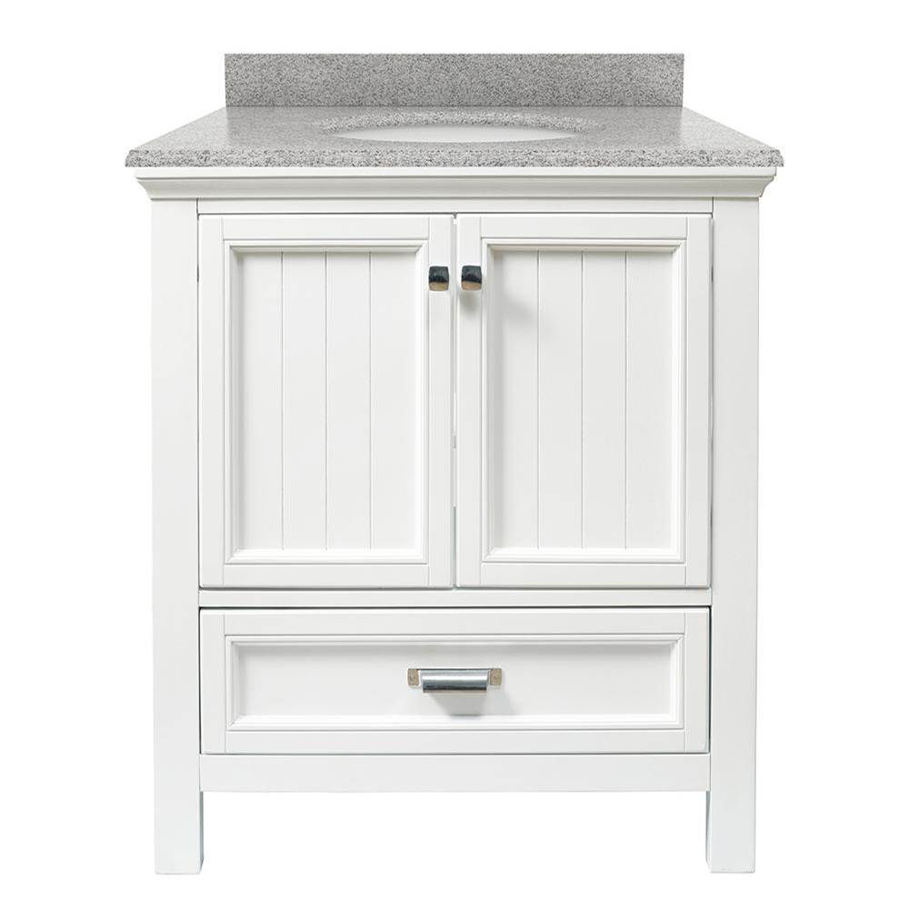 Foremost Brantley 31'' White Vanity with Rushmore Grey Granite Top