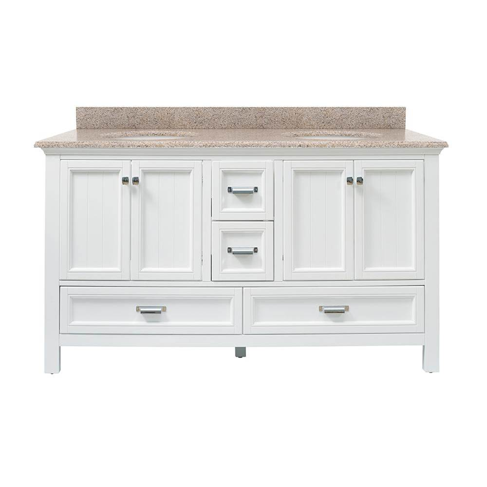 Foremost Brantley 61'' White Vanity with Mohave Beige Granite Top