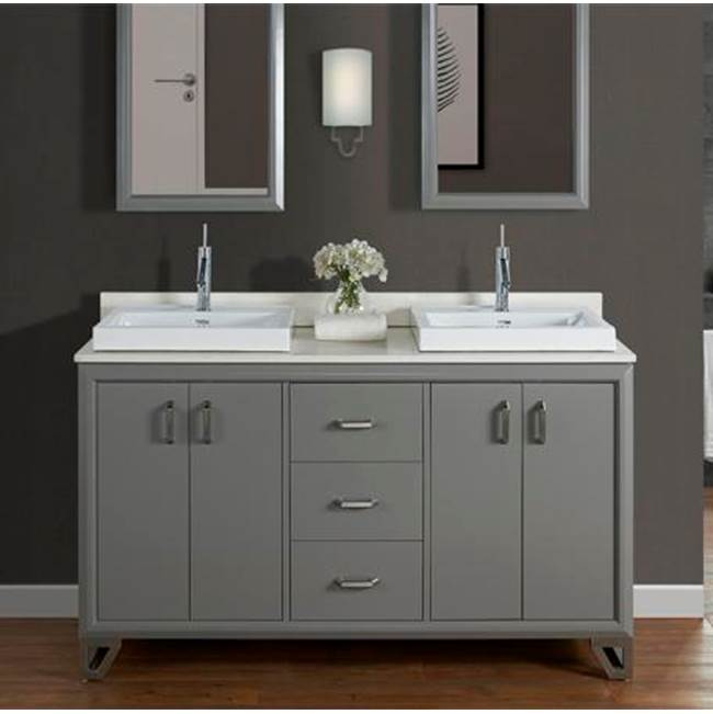 Fairmont Designs Revival 60'' Double Bowl Vanity - Glossy Medium Gray