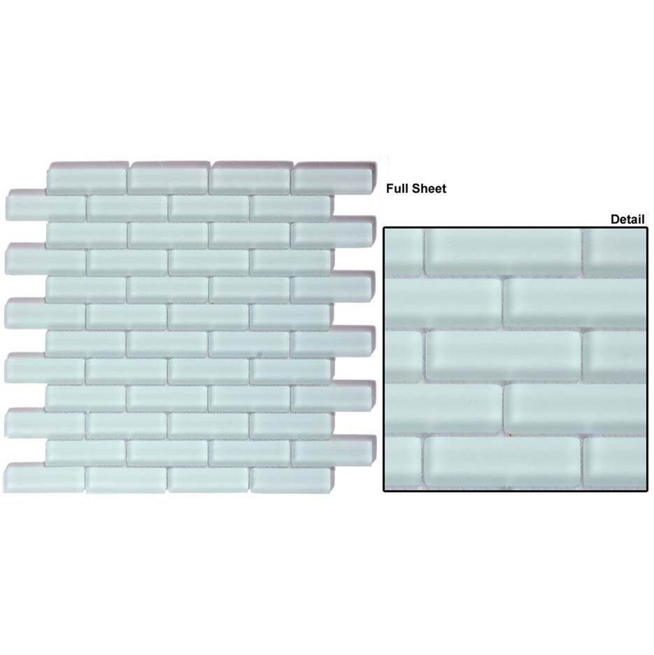 Glazzio Tile Crystile 1'' x 3'' x 1/4'' BRICK FORMATION in Ice Mist Matte