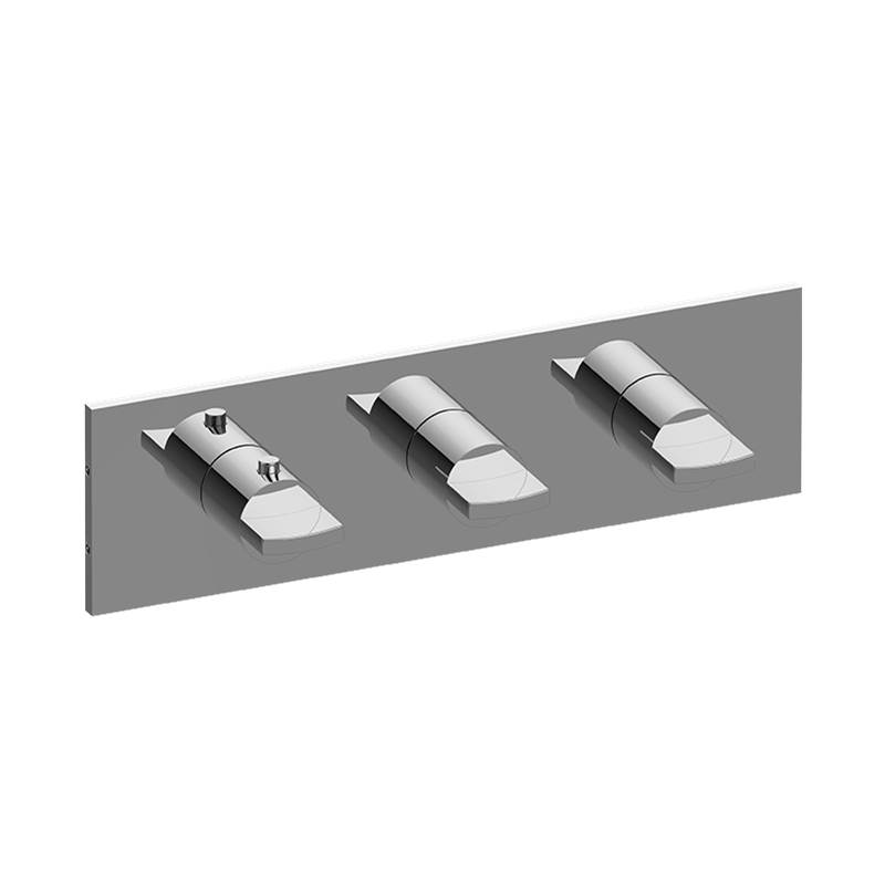 Graff M-Series Square Thermostatic 3-Hole Trim Plate w/Targa/Sade Handle (Horizontal Installation)