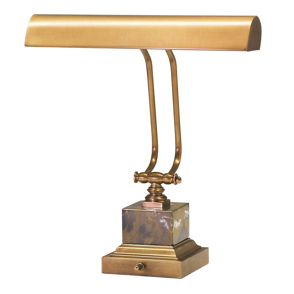 House Of Troy Desk/Piano Lamp 14'' Weathered Brass with Black and Tan Marble