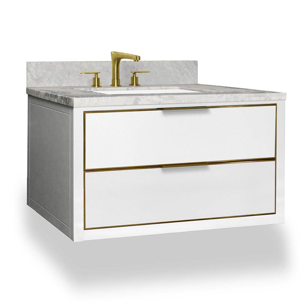 Icera Muse Wallhung Vanity 36-in, Matte White with Satin Brass