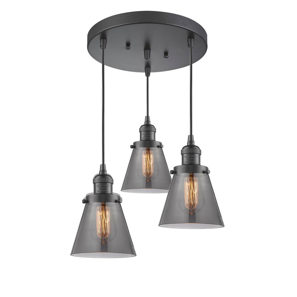 Innovations Small Cone 3 Light Multi-Pendant part of the Franklin Restoration Collection