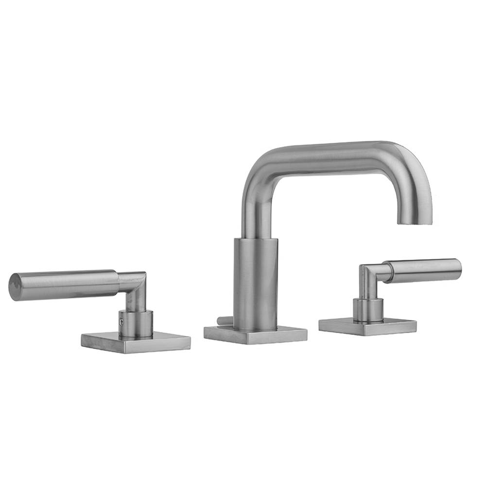 Jaclo Downtown Contempo Faucet with Square Escutcheons and Contempo Slim Lever Handles and Fully Polished and Plated Pop-Up Drain