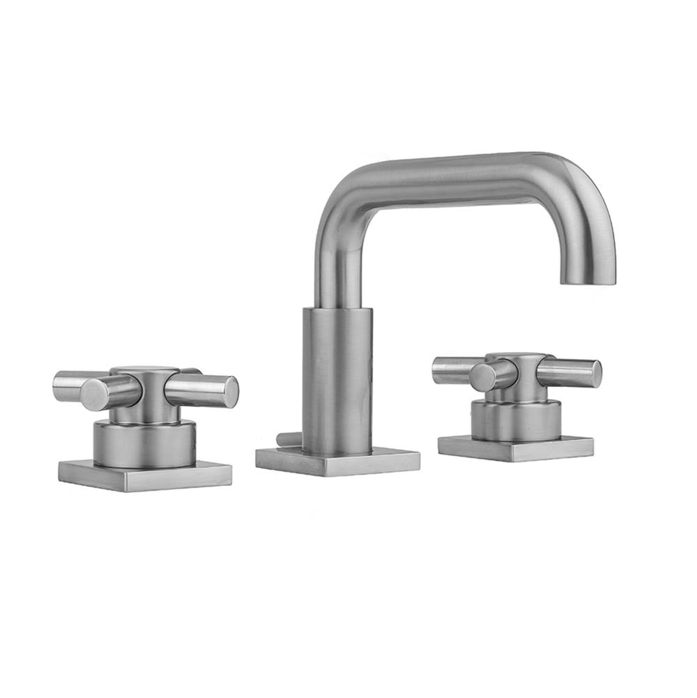 Jaclo Downtown Contempo Faucet with Square Escutcheons and Contempo Cross Handles- 0.5 GPM