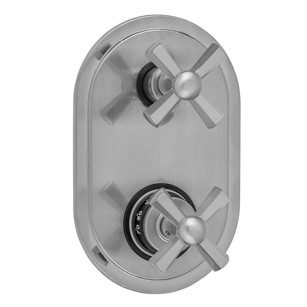 Jaclo Oval Plate with Hex Cross Thermostatic Valve with Hex Cross Built-in 2-Way Or 3-Way Diverter/Volume Controls