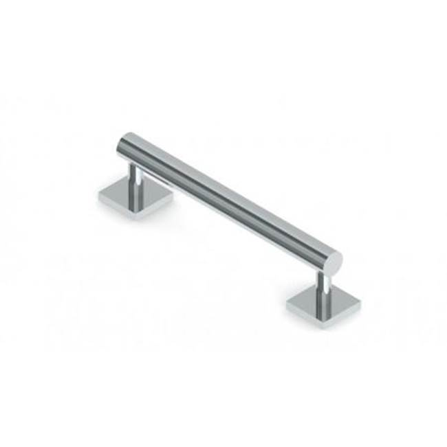 Kartners Bath Grab Bar Round 18'' SQ Rosette- Polished Nickel