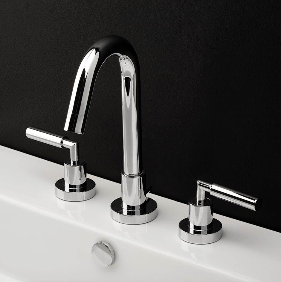 Lacava Deck-mount three-hole faucet with a goose-neck swiveling spout, two lever handles, and a pop-up drain. Water flow rate: 1 gpm pressure compensating